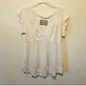 Johnny Was delicate white lace top